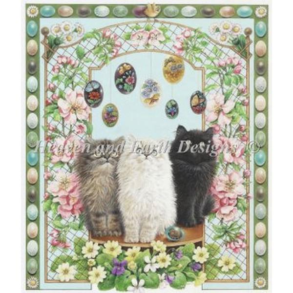 画像1: クロスステッチ キット 上級者 全面刺し Easter With Annes Kittens [糸+布のキット]図案無し -HAED(Heaven and Earth Designs) (1)